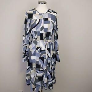 Lafayette 148 Aerial Blue Geometric Midi Dress 6